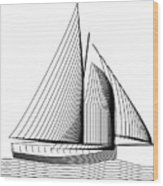 Falmouth Oyster Boat Wood Print