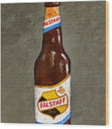 Falstaff Beer Bottle Wood Print by Elaine Hodges