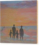 Family At Sunset 2 Wood Print