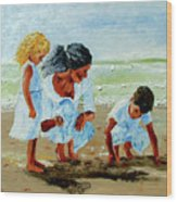 Family At The Beach Wood Print