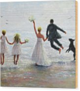 Family Beach Wedding Wood Print