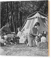 Family Camping, C.1970s Wood Print