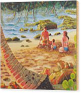 Family Day At Jobos Beach Wood Print by Milagros Palmieri