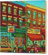 Family Frolic On St.viateur Street Wood Print