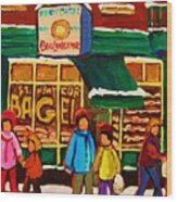 Family  Fun At St. Viateur Bagel Wood Print