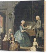 Family Group Near A Harpsichord, 1739 Wood Print