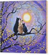 Family Moon Gazing Night Wood Print