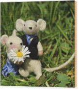 Family Mouse On The Spring Meadow .1. Wood Print