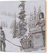 Family Moving With Sled Historical Vignette Wood Print