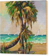 Family Of Palm Trees With Sail Boats Wood Print
