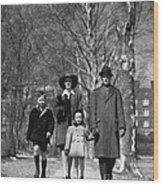 Family Out Walking On A Wintry Day Wood Print