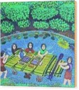 Family Picnic In Palau Wood Print