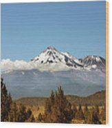 Family Portrait - Mount Shasta And Shastina Northern California Wood Print