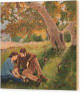 Family Portrait Under A Tree Wood Print