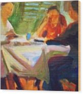 Family Talk At The Table Wood Print