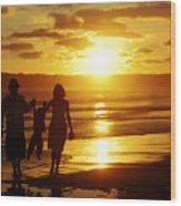 Family Walk On Beach Wood Print