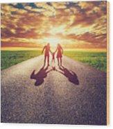 Family Walk On Long Straight Road Towards Sunset Sun Wood Print