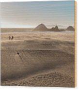 Family Walking On Sand Towards Ocean Wood Print