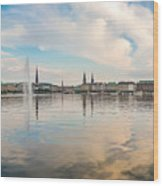 Famous Binnenalster In Hamburg Downtown At Sunset Wood Print