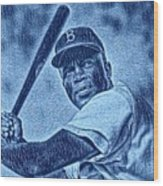 Famous Jackie Robinson Wood Print