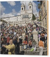 Famoust Spanish Steps In Rome Wood Print