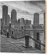 Fan Pier Boston Harbor Bw Wood Print