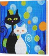 Fancy Cats Wood Print