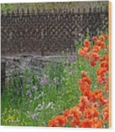 Fancy Foot Bridge And Poppies Wood Print by Stephanie Calhoun
