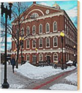 Faneuil Hall Winter Wood Print