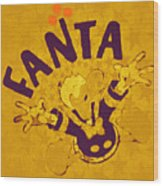 Fanta Old School Pop Art Pur Wood Print