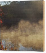 Fantastic Foggy River With Fresh Green Grass In The Sunlight. Wood Print