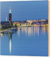 Fantastic Stockholm And Gamla Stan Reflection From A Distant Bridge Wood Print