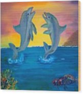 Fantasy Dolphins Wood Print