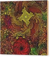 Fantasy Flowers Woodcut Wood Print