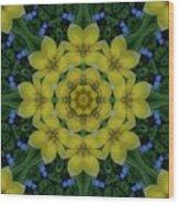 Fantasy Plumeria Decorative Real And Mandala Wood Print