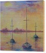 Fantasy Sailboats  Wood Print