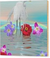 Fantasy Stork-flowers-rainbow On Ocean Wood Print