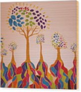 Fantasy Trees Wood Print