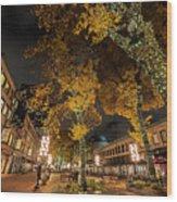Fanueil Hall Boston Ma Autumn Foliage Wood Print
