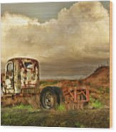 Far Rusted Truck Wood Print