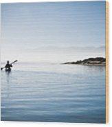 Faraway Kayaker In Morro Bay Wood Print