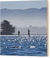 Faraway Paddle Boarders In Morro Bay Wood Print by Bill Brennan - Printscapes