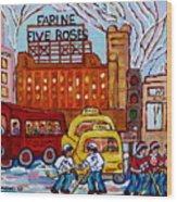 Farine Five Roses Montreal 375 Hometown Hockey Hotel Bonaventure Tour Bus Canadian Art C Spandau Art Wood Print