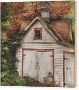 Farm - Barn - Our Old Shed Wood Print by Mike Savad