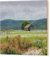 Farm - Barn - Out In The Country  Wood Print by Mike Savad