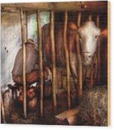 Farm - Cow - Milking Mabel Wood Print