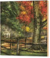 Farm - Fence - On A Country Road Wood Print