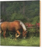 Farm - Horse - In The Meadow Wood Print