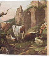 Farm Animals In A Landscape Wood Print