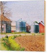 Farm Around The Corner Wood Print